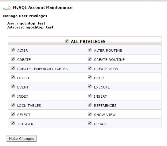 Hướng dẩn tạo database mysql để cài đặt website